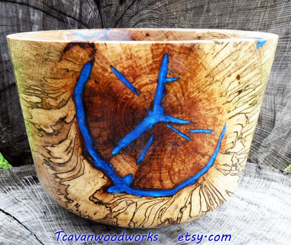 Spalted Large Wood Tcavanwoodworks Bowl Inlaid With