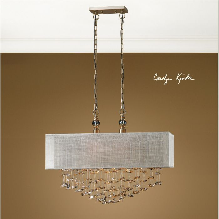 Uttermost santina 2 lt pendant champagne drop crystals are a brilliant focal point for this