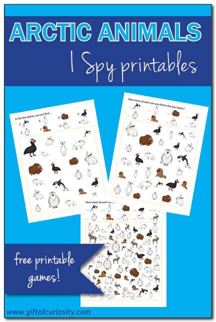 Arctic Animals I Spy free printables - http://www.giftofcuriosity.com/arctic-animals-i-spy-free-printables/