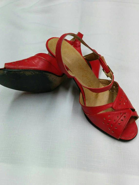 Check out this item in my Etsy shop https://www.etsy.com/listing/591596439/vintage-red-sandals-early-80s