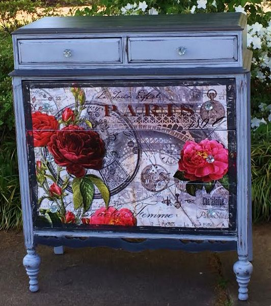 DIY painted dresser with mod podged poster onto the front of it from: Ooo La La!  Rose Rouge De Paris Dresser