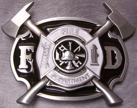 Lionheart Designs Firefighter  Pewter Belt Buckle   Shared by LION