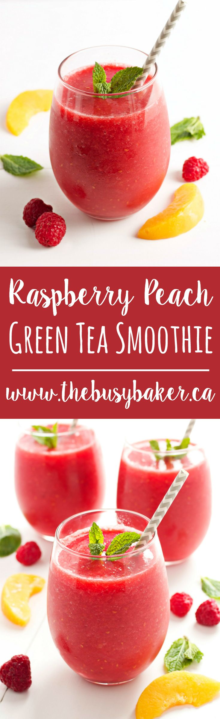 This+Raspberry+Peach+Green+Tea+Smoothie+a+refreshing+low-calorie+treat+that's+naturally+sweetened+only+with+fruit,+with+a+delicious+hint+of+iced+green+tea!+Recipe+from+thebusybaker.ca!+via+@busybakerblog
