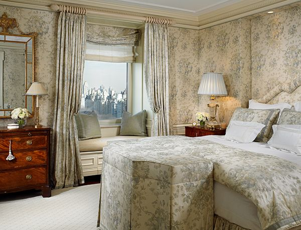 bedroom swathed in soft blue and cream floral fabric scott snyder inc ritz carlton new york apartment project