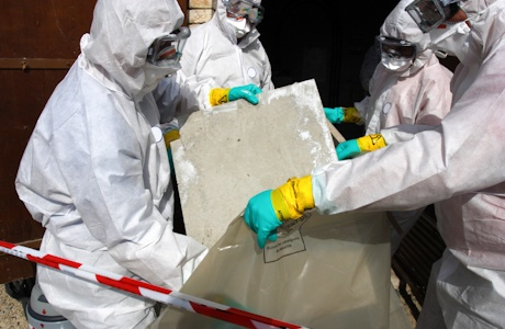 Our asbestos surveyor Edinburgh team at work carrying out Asbestos disposal work