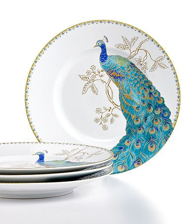 Love the peacock plates :) 222 Fifth Dinnerware, Set of 4 Peacock Garden Salad Plates