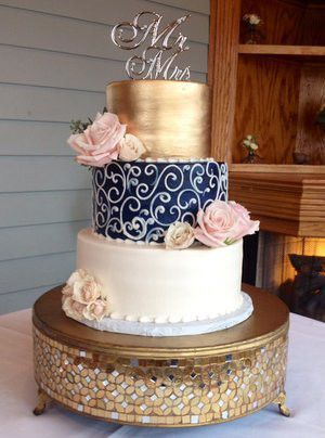 Image result for navy blue and rose gold wedding cake