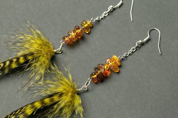 Long feather earrings with genuine amber: by NatureFeatherJewelry