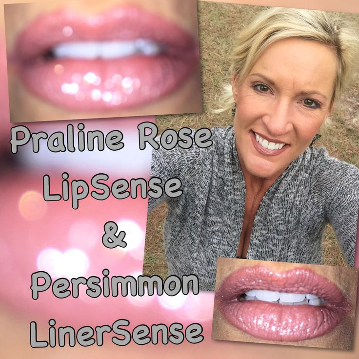 #LoveTheSkinYouAreIn featuring Praline Rose #LipSense with Persimmon #LinerSense and Silver Glitter Gloss
