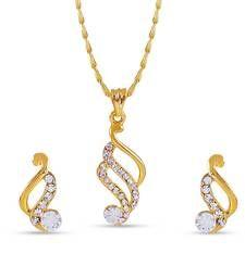 Buy Classic American Diamond Pendant Set With Chain Pendant online