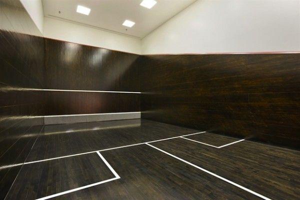 Dark squash court in penthouse apartment in Chicago