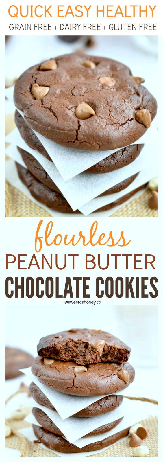 Flourless Peanut Butter Chocolate Cookies Grain Free Paleo