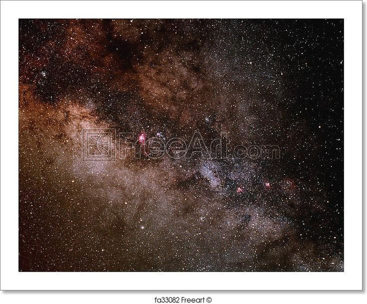 """""""A portion of the central buldge of the milky way galaxy showing dense star fields and dark dust lanes."""" - Art Print from FreeArt.com"""