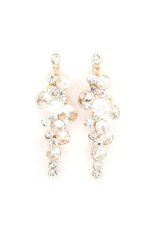 Bia Chandelier Earrings in Crystal on Emma Stine Limited