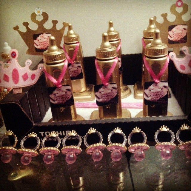 Creative Creations by Adrienne baby bottle trophy's Bling pacifiers with crowns & other trinkets for Amore Gel's Baby Shower! Angelica's Baby Shower 5/3/2015