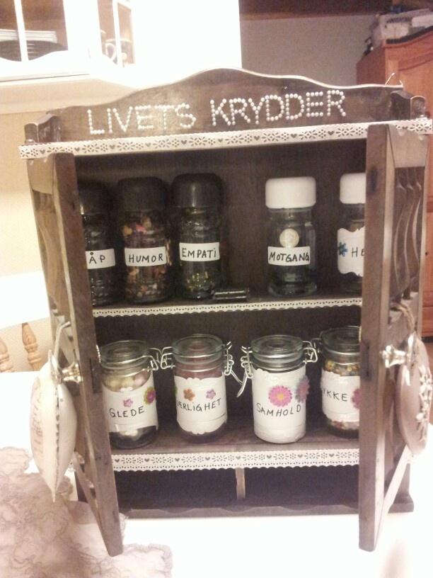 Made different spice shelf.. spice of life.. love, faith, happiness, joy,
