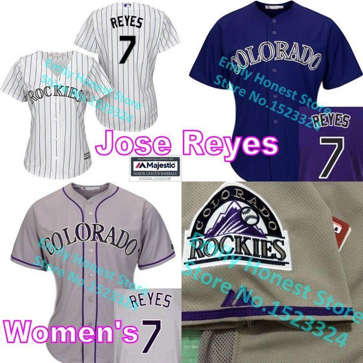 7 хосе рейес джерси колорадо база белый серый фиолетовый сшитые девочки рубашки бейсбол кофта женщин