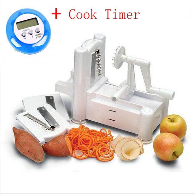 3 em 1 cortador de batata espiral cortador de legumes fruta Shredder Food Turner raladores + Mini Digital LCD cozinha temporizador alishoppbrasil