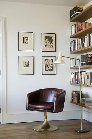 Floating shelves. Mid-century chair and lamp. Nice, clean, uncluttered but not at all sterile. Rose Uniacke - Interiors - London. | @andwhatelse