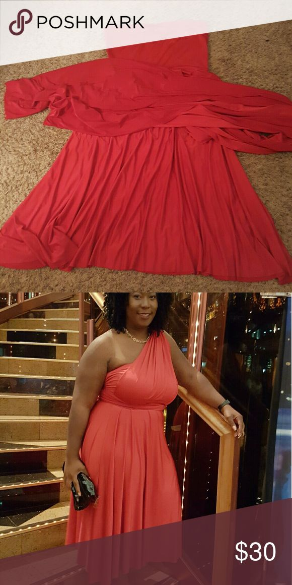 Ashley Stewart plus size dress 2X Multi way red dress Ashley Stewart Dresses Midi
