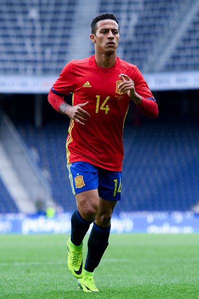 Thiago Alcantara of Spain looks on  during an international friendly match between Spain and Korea at the Red Bull Arena stadium on June 1, 2016 in Salzburg, Austria.