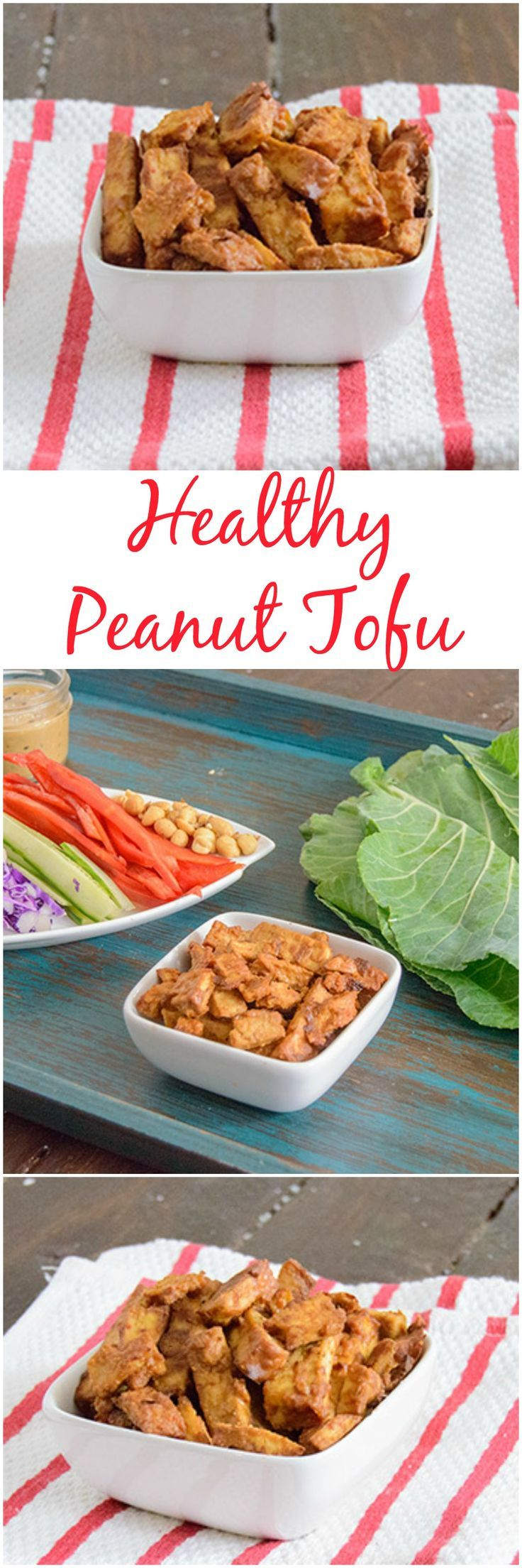 Baked Peanut Tofu - this healthy vegan tofu recipe crispy even though it's baked! Vegan, gluten free, and packed with flavor, perfect for dinner! Try it with stir fry veggies for a healthy, simple meal!