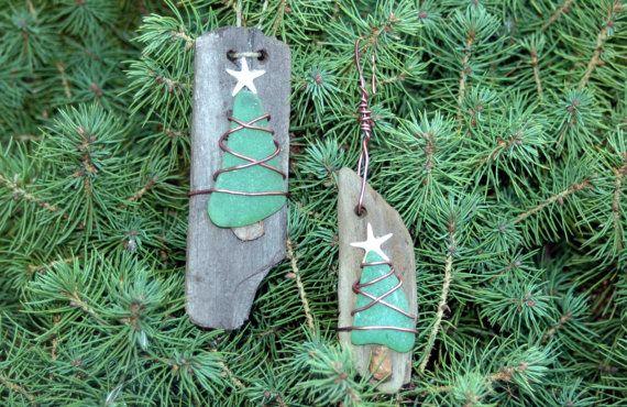 Driftwood & Sea Glass Tree Christmas Ornament by KaiHinaCoastal, $22.00