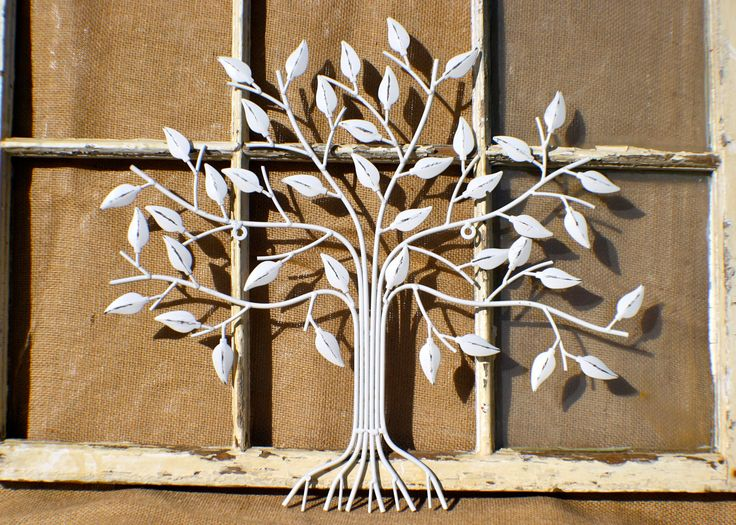 Outdoor Indoor Metal Wall Art Decor Tree Of Life White