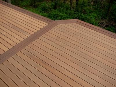 Wood deck w darker double border garden pinterest for Garden decking borders