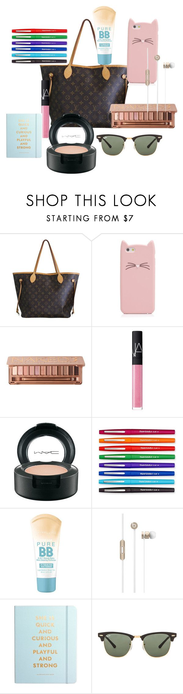 """What's in my purse :]"" by maemoo7 ❤ liked on Polyvore featuring moda, Louis Vuitton, Kate Spade, Urban Decay, NARS Cosmetics, MAC Cosmetics, Paper Mate, Maybelline, Beats by Dr. Dre ve Ray-Ban"