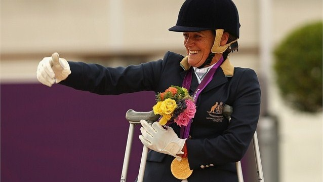 Joann Formosa of Australia celebrates winning the Gold Medal in the Equestrian Individual Freestyle Test - Grade Ib on Day 3 of the London 2012 Paralympic Games at Greenwich Park