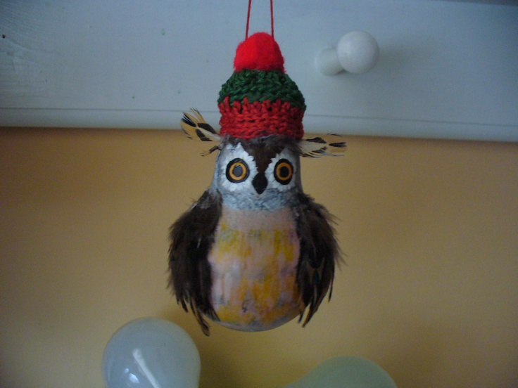 Light bulb Christmas ornament ~ Owl ~ A little paint, some craft store feathers and a crocheted hat with a pom pom. Handmade by CAyers