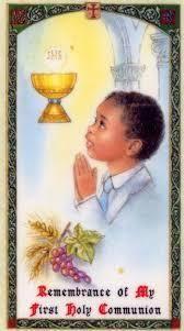 First Communion Prayer Card Boy Laminate