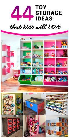 Toy Storage Ideas for Kids: I particularly like the cube shelves, the under bed storage, and the bags with see through bottoms.