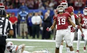 Oklahoma's Caleb Kelly (19) celebrates after bringing down Auburn's Sean White (13) during the Allstate Sugar Bowl between the University of Oklahoma Sooners (OU) and the Auburn University Tigers at the Mercedes-Benz Superdome in New Orleans, Monday, Jan. 2, 2017.  Photo by Bryan Terry, The Oklahoman
