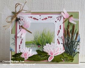 Handmade card by DT member Anja with Creatables Petra's Square with Nest (LR0458), Tiny's Cattails (LR0409), Tiny's Waterlily (S) (LR0459), Tiny's Waterlily (L) (LR0460) and Tiny's Frogs & Dragonfly (LR0461) from Marianne Design