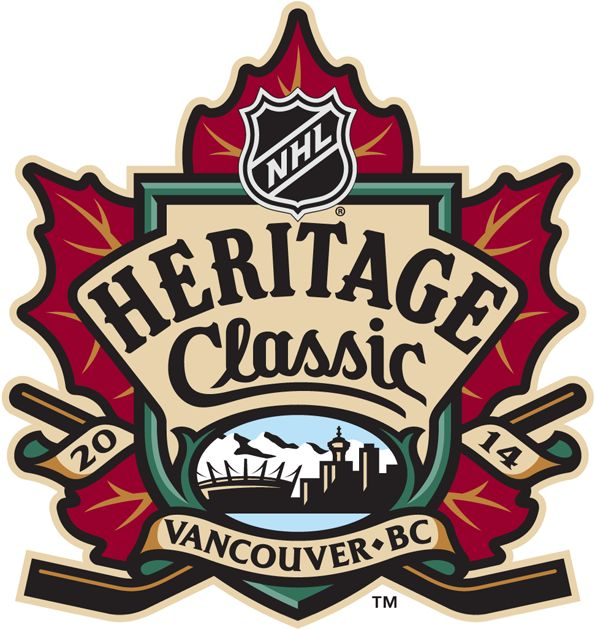 NHL Heritage Classic Primary Logo (2014) - 2014 NHL Heritage Classic presented by Tim Hortons - Vancouver, BC - Vancouver Canucks VS Ottawa Senators - will be held on March 2, 2014
