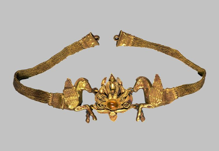 Diadem/SCYTHIAN  , 4th-3rd Centuries B.C.     Gold, glass: solding, stamping, wicker-work, engraving