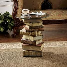 Glued books together with a cookie sheet=book end table. Very cute