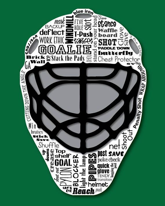Original artwork using words to describe HOCKEY GOALIE -- Dress up a room in your home with this sports-themed print that details the many words for ice hockey goalies. ◿▼┃▼◺ ◿▼┃▼◺ ◿▼┃▼◺ ◿▼┃▼◺ ◿▼┃▼◺ ◿▼┃▼◺ ◿▼┃▼◺ Want to customize this print with a few words that are special to you? For #icehockey
