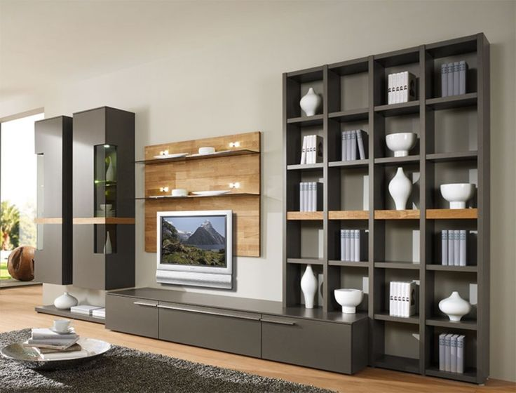Furniture, Plain Cream Wall Paint Color Background With Brown Wall Unit Storage Also Fur Rug Design: Practical Wall Unit Storages Ideas for Tidiness and  Cleanliness Aspect in Home
