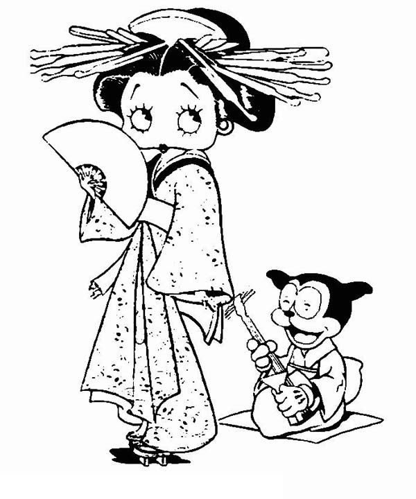 Betty Boop Wearing Chinese Dress Coloring Pages