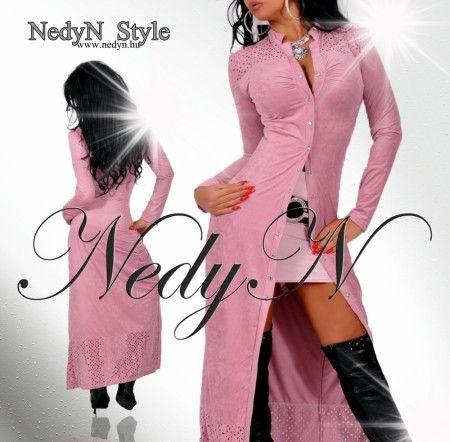 NedyN Sötét rózsaszín patentos maxi női ruha és kardigán