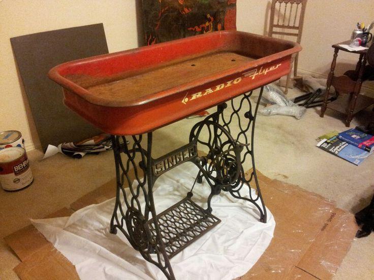 Radio Flyer Wagon Table On Singer Sewing Machine Base I