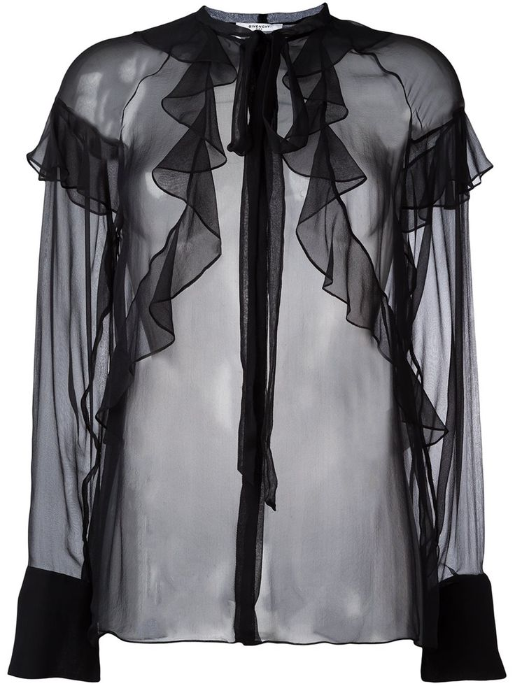 Givenchy sheer ruffle detail blouse