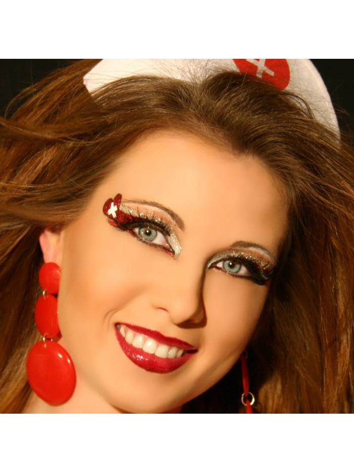 First Aid Xotic Eyes Silver Red Glitter Eye Paint Sexy Nurse Costume Accessory