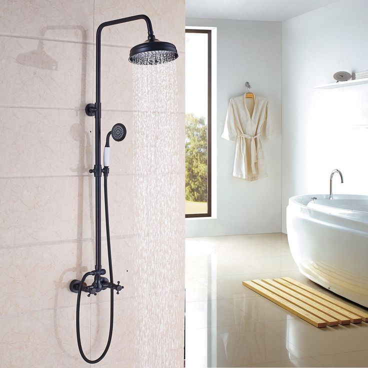 Oil Rubbed Bronze Shower Faucet 8''Rain Shower Head With Hand Shower Mixer Tap  | eBay