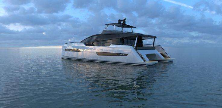 Carène innovante, signée Marc Lombard, pour des performances dignes des grands yachts au delà de 27 noeuds !
