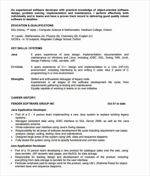 Java Developer Resume 2 Years Experience Fresh Free 5 Sample Java Developer Resume Templates In Pdf Psd In 2021 Job Resume Samples Good Resume Examples Resume