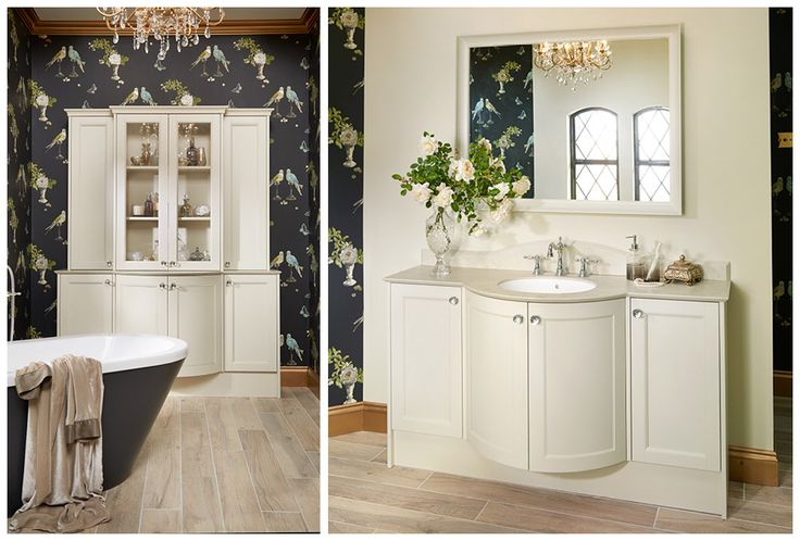 Freestanding dresser and washbasin unit created using the beautiful curved contour unit #Roseberry #paintedtimber #bathroomfurniture #myutopia